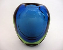 1960s Czech blue and green cased glass vase - vintage Zdenka Strobachova glass vase from Skrdlovice glassworks - mid-century retro vase