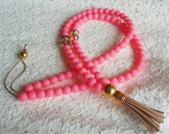 Tassel Necklace, Long Beaded Necklace, Hot Pink Necklace, Made in Greece