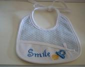 Bavaglino Azzurro Bimbo Smile - Ligt Blue Bib Smile