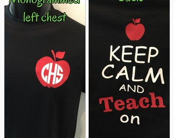 Monogram Teacher shirt keep calm and teach on shirt teacher gift new personalized for you