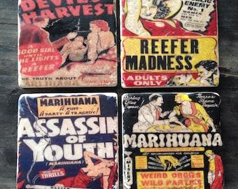 Vintage Marijuana Tile Set x4