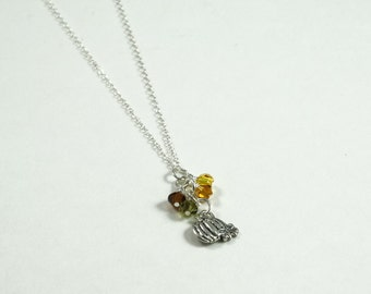 Pumpkin Necklace • Sterling Silver Fall Necklace • Halloween Necklace • Fall Colors Necklace