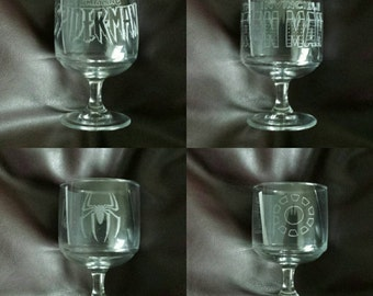Set of 6 Hand etched dishwasher safe wine glasses inspired by Marvel Superheroes