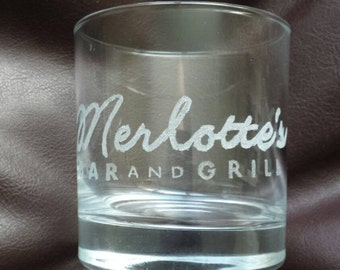 Hand etched mixer glass inspired by True Blood