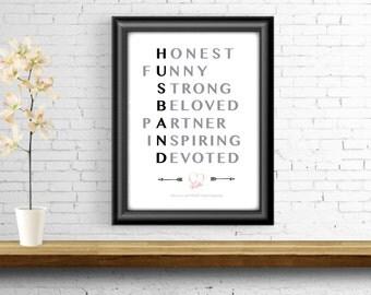 Husband Word Art, Words to Describe My Husband, Wall Decor, Anniversary Gift, Digital File