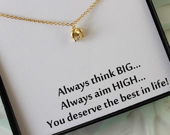Gold Elepant Necklace, Good luck charm, Best friend gift, Gifts for sisters, Gifts for her,  message jewelry box necklace