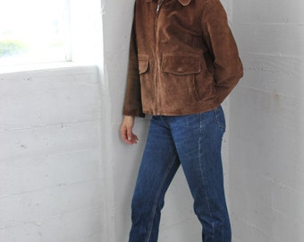Aviator Leather Suede Brown Jacket size S