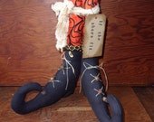 "Primitive Halloween Witches Boots ""If the Shoes Fit"" Autumn Fall Harvest Time Ornies OFG HAFAIR Teams"