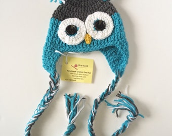 Size 0-6 month Baby Blue Owl Hat