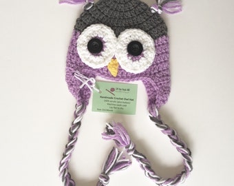 Size 6-12 month Lavender Purple Owl Hat