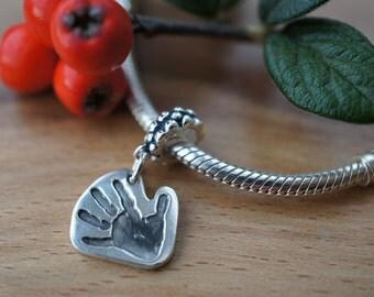 Personalised Silver Handprint charm, personalised personalised pandora charm, baby handprint jewellery jewelry, baby footprint, mum