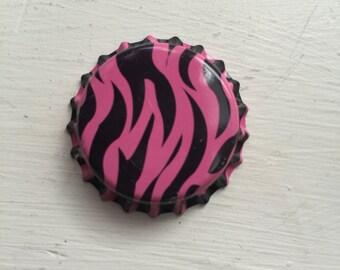 Pink Zebra Bottle Cap Brooch Pin
