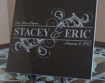 Monogram Family Name Plaque ~ Est. Date ~ Engraved Black Granite Tile