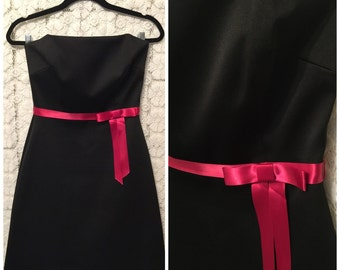 CLEARANCE SALE strapless black dress with pink satin bow detail