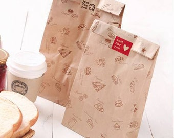 Grease Proof Kraft Paper food Bags, Candy Bag,Baked food packaging bags 15x28x9cm 100pcs/lot