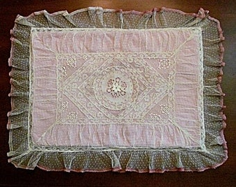 Vintage Lace Boudoir Pillow Cover, Delicate Feminine Ruffles, Cutwork, Pink Ribbon, REDUCED
