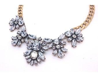 Beautiful Bridesmaid Statement Necklace, Crystal Statement Necklace, Wedding Statement Necklace