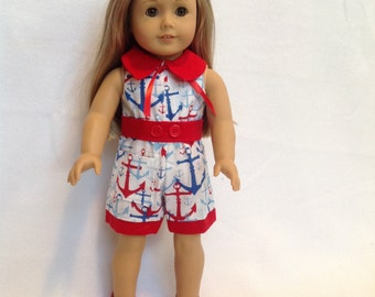 "American Girl Doll (or other 18"" doll) red, white, and blue romper"
