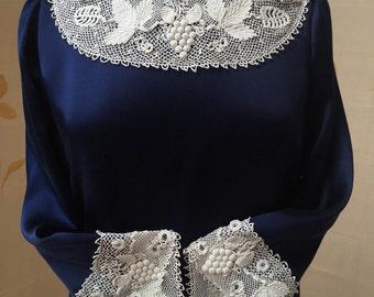 1900s Irish crochet lace collar and cuffs on heavy silk satin trapeze dress. Handmade