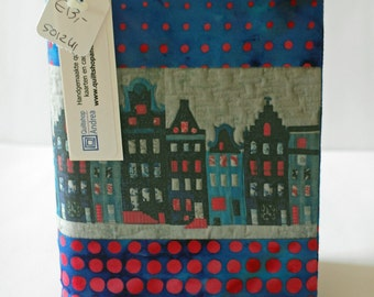 Fabric covered notebook with canal houses (unlined)
