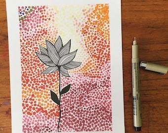 Psychedelic Flower Illustration, Flower Illustration, Floral Illustration, Copic Illustration, Copic Art, Prismacolor Illustration