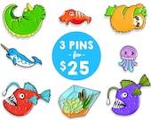 Enamel pin set of 3 (pin pack soft enamel pin sale lapel pin badge enamel jewelry cute animal jewelry succulent pin cloisonne backpack pins)