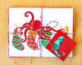 Octopus Christmas card set - Merry Christmas holidays - funny Christmas card pack - holiday card bundle - cute octopus - blank card