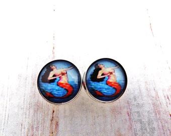 Mexican Loteria Mermaid  Silver Setting Stud Earrings / La Sirena
