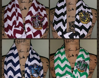 Harry Potter Scarf-Harry Potter Embroidered Scarf-Harry Potter Infinity-Gryffindor Scarf-Slytherin Scarf-Ravenclaw Scarf-Hufflepuff Scarf