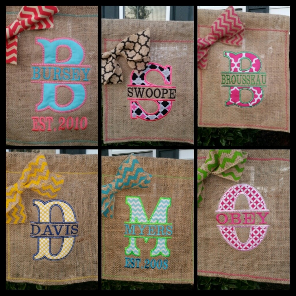 Personalized Burlap Garden Flag Garden Flag Personalized