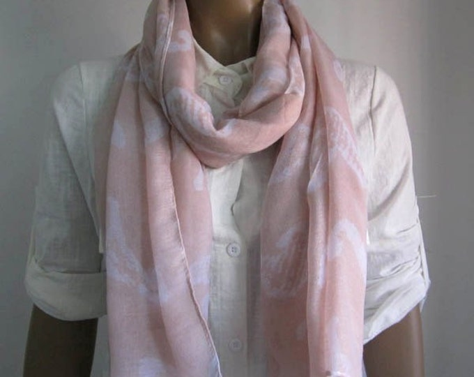 Pink Scarf Lightweight Scarf Pink Cotton Scarf Animal Print Scarf Seahorse Scarf Pink Winter Scarf Pink Accessories Pink Shawl