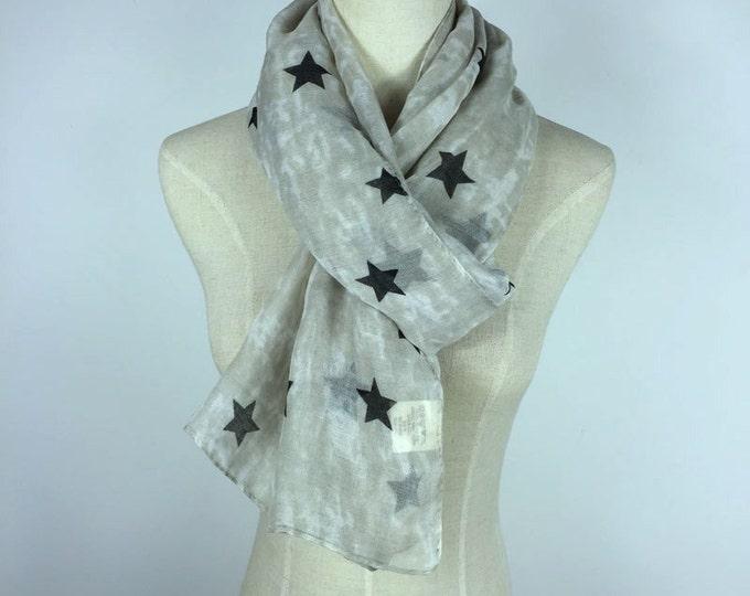 Stars Scarf Black Star Scarf Cotton Scarf Stars Scarves Lightweight Scarf Fashion Scarf Beige Stars Scarf Black Scarf Gift For Her Scarves