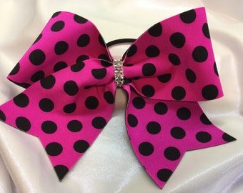 Hot Pink and Black Polka Dot Cheer Bow
