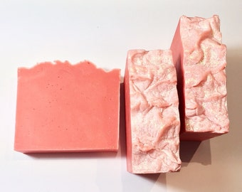 Pink Grapefruit Soap, Grapefruit Soap, Cold Process Soap, Citrus Soap, Pink Soap, Coral Soap, Homemade Soap, Handmade Soap