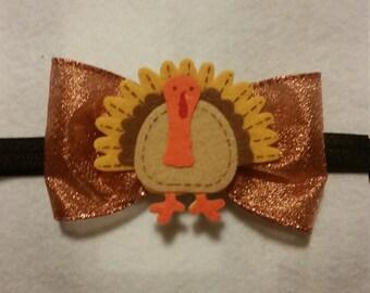 Thanksgiving bow headband, turkey bow headband, thanksgiving holiday bow, holiday bow