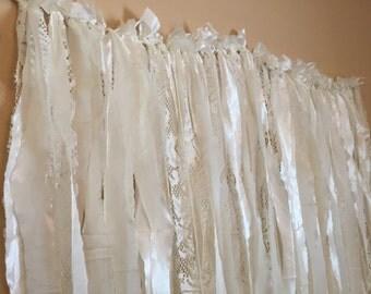 Ivory Lace Fabric Garland Backdrop