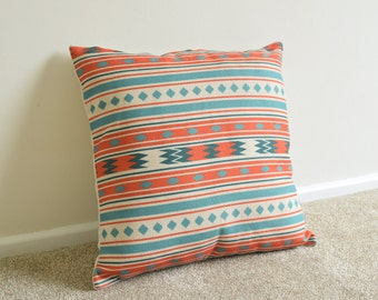 Orange/Teal Retro/Aztec/Tribal Cotton Linen Cushion/Pillow Cover 18 x 18""