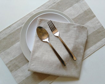 Linen Placemats, Set of 2, Fabric Placemats, Dinner Home Table, Modern/Natural.