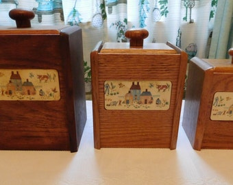 Vintage International China Heartland Wood Canister Set