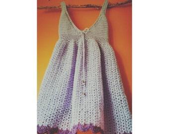 handmade crochet lilac empire line dress