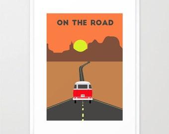 Route 66 print-Hippie van poster-Grand Canyon wall art-Colorado desert-Cool sunset Decorative Art Print-Colourful print-Large art print