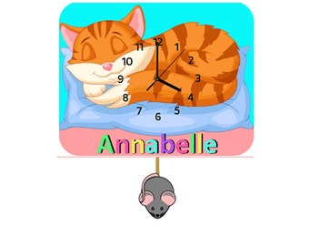 Cat Childrens Personalised Wooden Pendulum Clock  (free UK delivery)