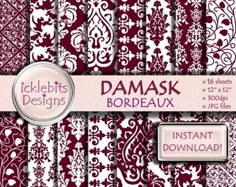 """Red Damask Digital Paper Pack, """"BORDEAUX DAMASK"""" For Scrapbooking,high res, damask digital paper, lace digital paper, Design #70"""