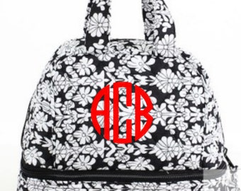 Monogram Black and White Floral Quilted Lunch Bag