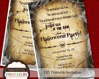 Halloween Invitation Printable halloween Scary party invites Halloween invites Skull invitations Printable Halloween Party Invitations