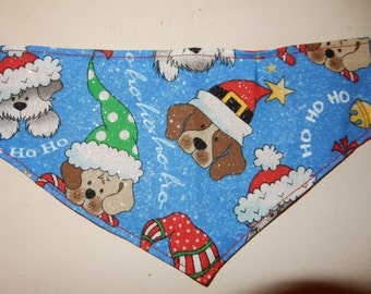 Dog Christmas bandana for dogs with silver sparkles in small medium large extra large and extra small