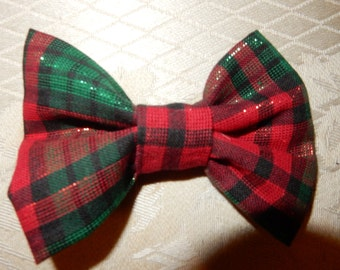 Christmas bowtie for pet dog or cat plaid sparkly red and green bowtie