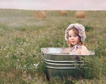 Girl Bonnet, Baby Bonnet, Flower Bonnet, Organic, Shells, Photo Prop, Vintage style, Photo Prop