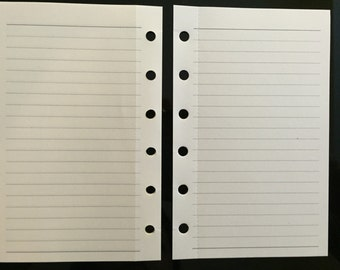 Printed Pocket Sized Planner Filofax Kikki K Small Lined Paper Inserts 45 Sheets