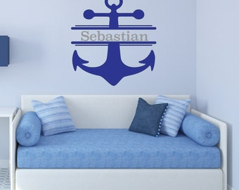 Anchor with Name Wall Decal /  nursery wall art